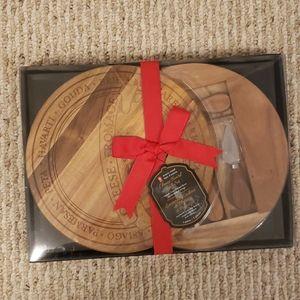 PC acacia wood cheese board gift set